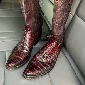 Lucchese Black Cherry Caiman Belly Round Toe boots